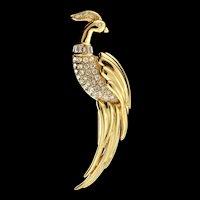 "Vintage HUGE 4"" Monet Rhinestone BIRD Figural Brooch Pin Minty Condition"