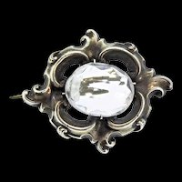 Antique Sweet VICTORIAN Sterling Silver Rock Crystal Brooch Pin