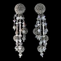 Vintage Runway French SIMONE EDOUARD Rhinestone Crystal Bead Drop Dangle EARRINGS