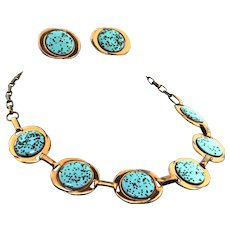 VintageMid Century Genuine Copper & Turquoise Confetti Enameled Necklace Earrings