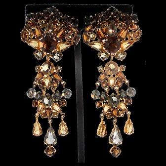 "Rare 1961 CHRISTIAN DIOR Germany Crystal Rhinestone 3.5"" Dangle Clip Earrings"