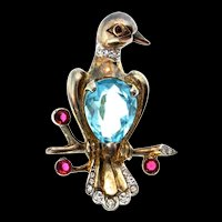1945 REJA STERLING Rhinestone Aqua Glass Belly Love BIRD Dove Figural Brooch Pin