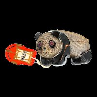 NOS 1920s Chinese Export Gilt Silver Enamel PANDA BEAR Figural Pin Pendant