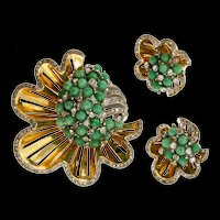 Vintage 1940's REJA Sea Anemone Rhinestone Peking Glass Brooch Pin Earrings SET