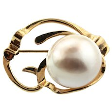 Vintage Modernist Abstract 14K Yellow Gold Large Mabe Pearl Pin Brooch