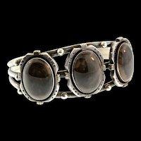 Vintage Navajo Native American Sterling Silver Triple Petrified Wood Cuff BRACELET