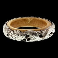 Vintage Nepal Nepalese Sterling Silver Clad Bone Dragon Serpent Large Bangle Bracelet