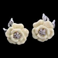 Vtg NOLAN MILLER Creme Lucite Rhinestone Flower  Clip Earrings