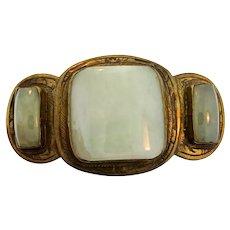 Antique Late 19c Chinese Celadon Jade Gilt Bronze Qing Dynasty BELT BUCKLE