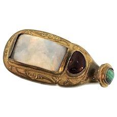 Antique 19c Chinese Jade Malachite Garnet Gilt Bronze Qing Dynasty BELT BUCKLE