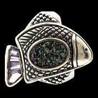 Vintage AMY KAHN RUSSELL AKR Sterling Silver Druzy Amethyst Fish Figural Ring Sz 8