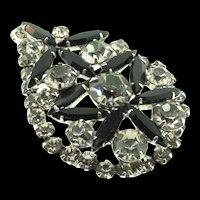 Vintage JULIANA D&E Black and Smoke Rhinestone Rhodium Plated Pendant Pin Brooch