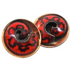 Vintage MATISSE Red & Black Enamel Brass Dimensional Clip EARRINGS