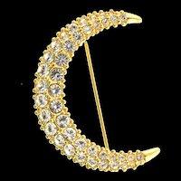 Swan SWAROVSKI Crystal Rhinestone Gold Crescent Moon Figural Pin Brooch