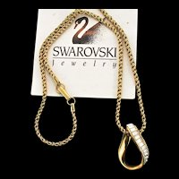 Swan SWAROVSKI Crystal Rhinestone Gold Plated Pendant Chain Necklace