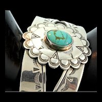 Vintage Native American CAROLYN POLLACK Sterling Silver Turquoise CUFF Bracelet
