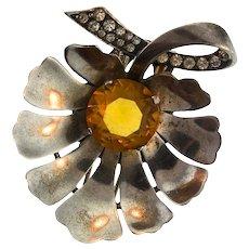 Vintage REJA STERLING Stylized Leaf Figural Topaz Rhinestone Pin Fur Clip Brooch