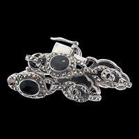 Vintage IBB Sterling Silver 925 Marcasite Onyx Deco Style BRACELET 23g
