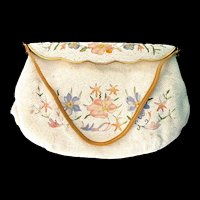 Vintage E GRILLOT French France Embroidered Beaded Floral Evening Handbag Clutch