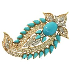 Vintage TRIFARI Jewels of India JOI Turquoise Cabochon Rhinestone Brooch Pin