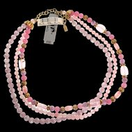 Vintage NOS 1928 Triple Strand Pink Glass Bead Molded Rosettes NECKLACE