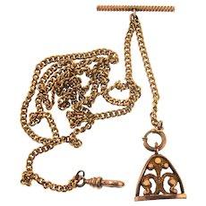 Antique Victorian Filled Rolled Gold FLEUR DE LIS Pocket Watch Fob Chain