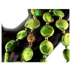 "Vintage Gold Filled Chartreuse Lime Green Genuine Coin Pearl 19.5"" NECKLACE"