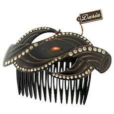 Vintage ART DECO French Paris Daria Black Celluloid Rhinestone Hair Comb Accessory