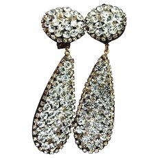 Vintage RUNWAY Massive Rhinestone Lucite Dangling Teardrop Clip Statement EARRINGS
