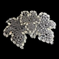 Huge 1962 Germany CHRISTIAN DIOR Maple Leaves Rhinestone Rhodium Brooch Pin