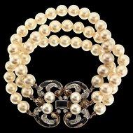 Vintage Philippe TRIFARI Empress Eugenie Rhinestone Enamel Fx Pearl BRACELET