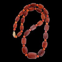 Vintage Genuine Baltic Amber Graduated Barrel Bead NECKLACE With 14K Gold Clasp 18""