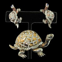 Vintage 1940s REJA STERLING Rhinestone TURTLE Figural Brooch Pin Earrings SET