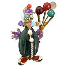 Vintage SWOBODA Jade Amethyst CLOWN Balloons Figural Brooch Pin