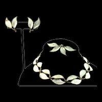 Vintage DAVID ANDERSEN Norway Sterling Enamel Dbl Leaf PARURE Necklace Earrings Pin