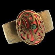 JAN MICHAELS Coral Lucite Turquoise Scroll Cage Brass Statement CUFF Bracelet
