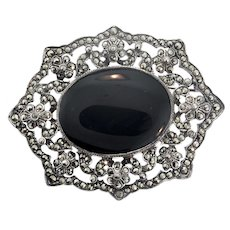 Vintage Hallmarked ART DECO Sterling 925 Marcasite Onyx Brooch Pin 23.8g