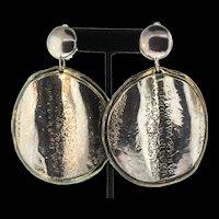 """Vintage HUGE 4"""" Modernist Signed RUNWAY Sterling Electroform Gold Dangle EARRINGS"""
