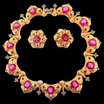 1950s Joseph MAZER Jomaz Moghul Maharanee Ruby Sapphire Necklace & Earrings Set