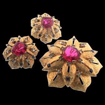 1950s Joseph MAZER Jomaz Moghul Maharanee Ruby Sapphire Brooch & Earrings Set