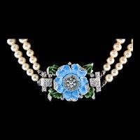 1940s TRIFARI Fx Pearl Enamel Flower Rhinestone Pendant Clasp Choker Necklace