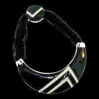 Vintage ALEXIS KIRK Modernist Black Enamel & Rhinestone Choker Necklace