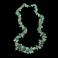 "Vintage Native American Navajo Natural Turquoise Nugget 31"" NECKLACE Sterling Clasp 195g"