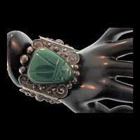 MASSIVE Vintage Iguala ANR Mexican 925 Sterling Carved Green Onyx Mask Bracelet 50g