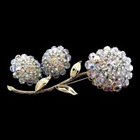 "Vintage Huge 4.25"" VENDOME Aurora Borealis Crystal Hi-Dome Flower Pin & Earrings Set"