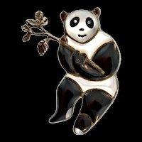 Vintage Native American ZUNI Sterling 925 Onyx MOP Panda Bear Figural Brooch Pin