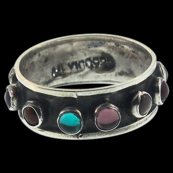 Vintage Taxco Mexico Sterling Silver 925 Multi-Stone Gem Cabochon RING Sz 6