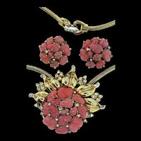 Vintage 1948 TRIFARI Pink Glass Fruit Salad Rhinestone Pendant Necklace Earrings SET