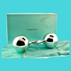 TIFFANY & CO Sterling Silver 925 Large Baby Rattle Barbell Monogrammed Pouch + Box