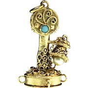 Estate 14K Gold CANDLESTICK TELEPHONE Charm Pendant Garnet Pearl Turquoise 11.1g